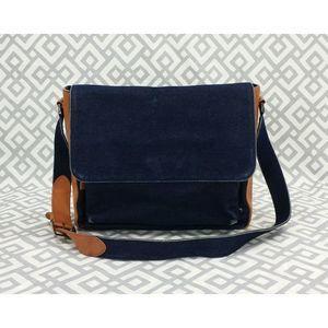 Vtg Cole Haan Shoulder Bag Leather Denim Satchel
